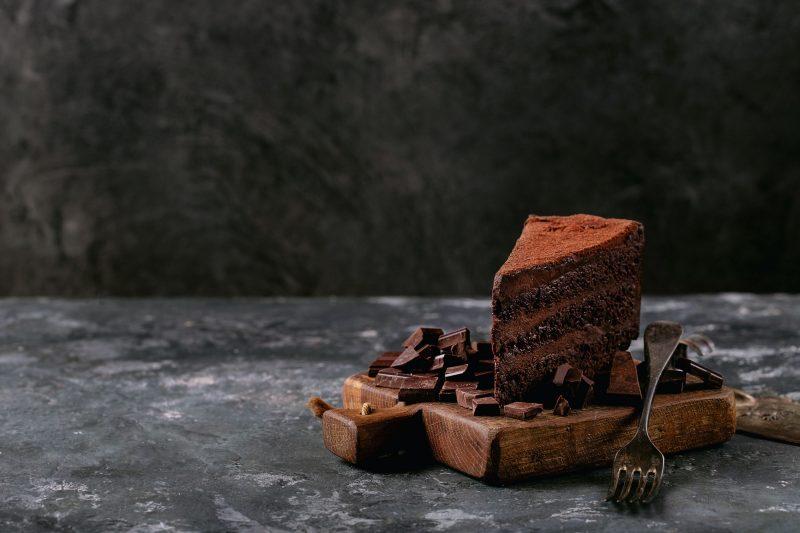 Chocolate cake served with chocolate bar