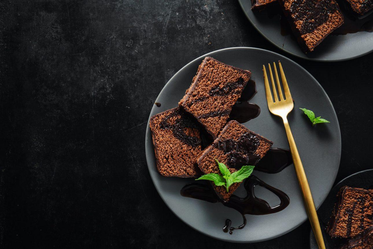 Chocolate cake served with chocolate sauce