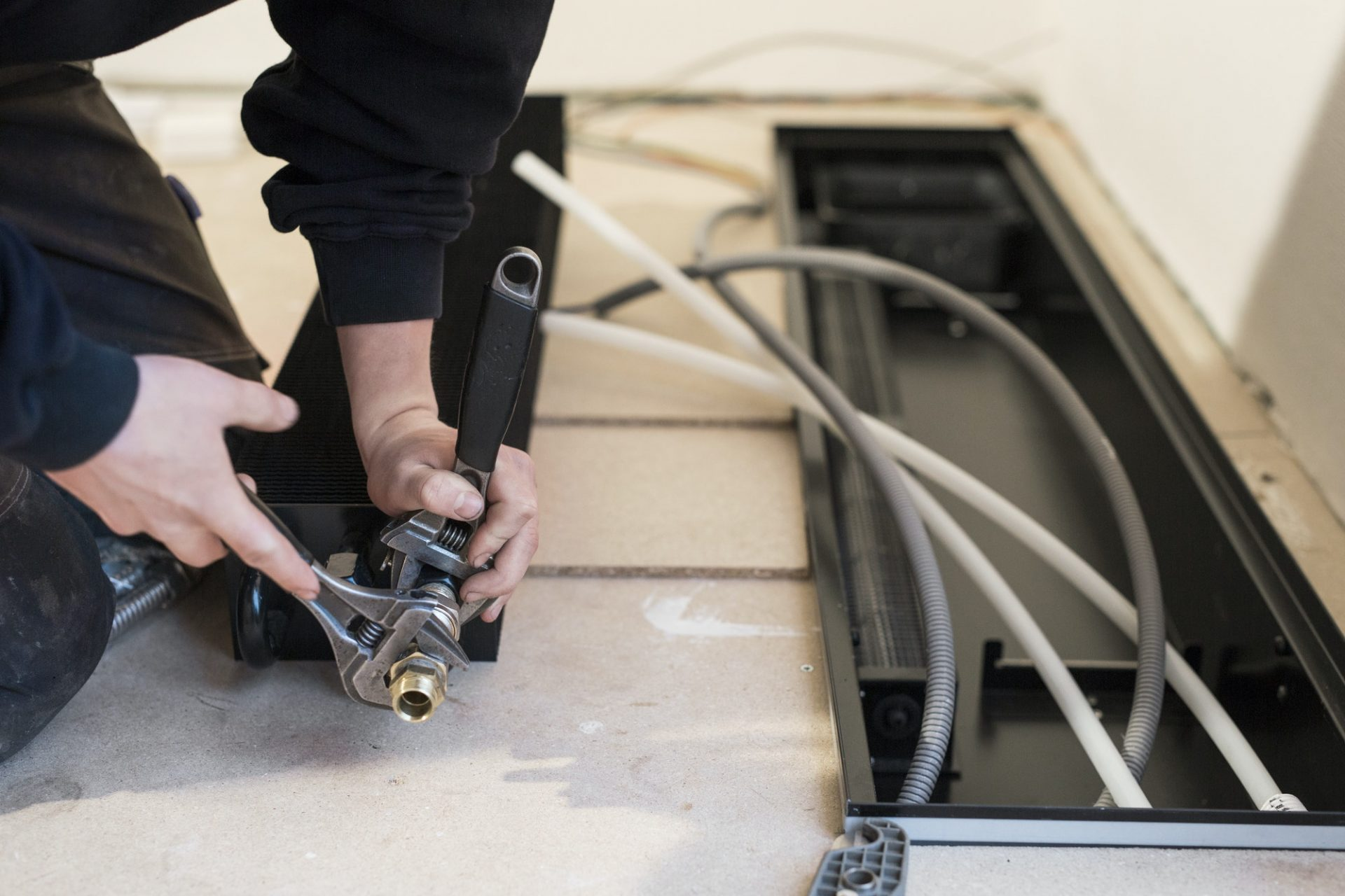 Close-up of repairman working