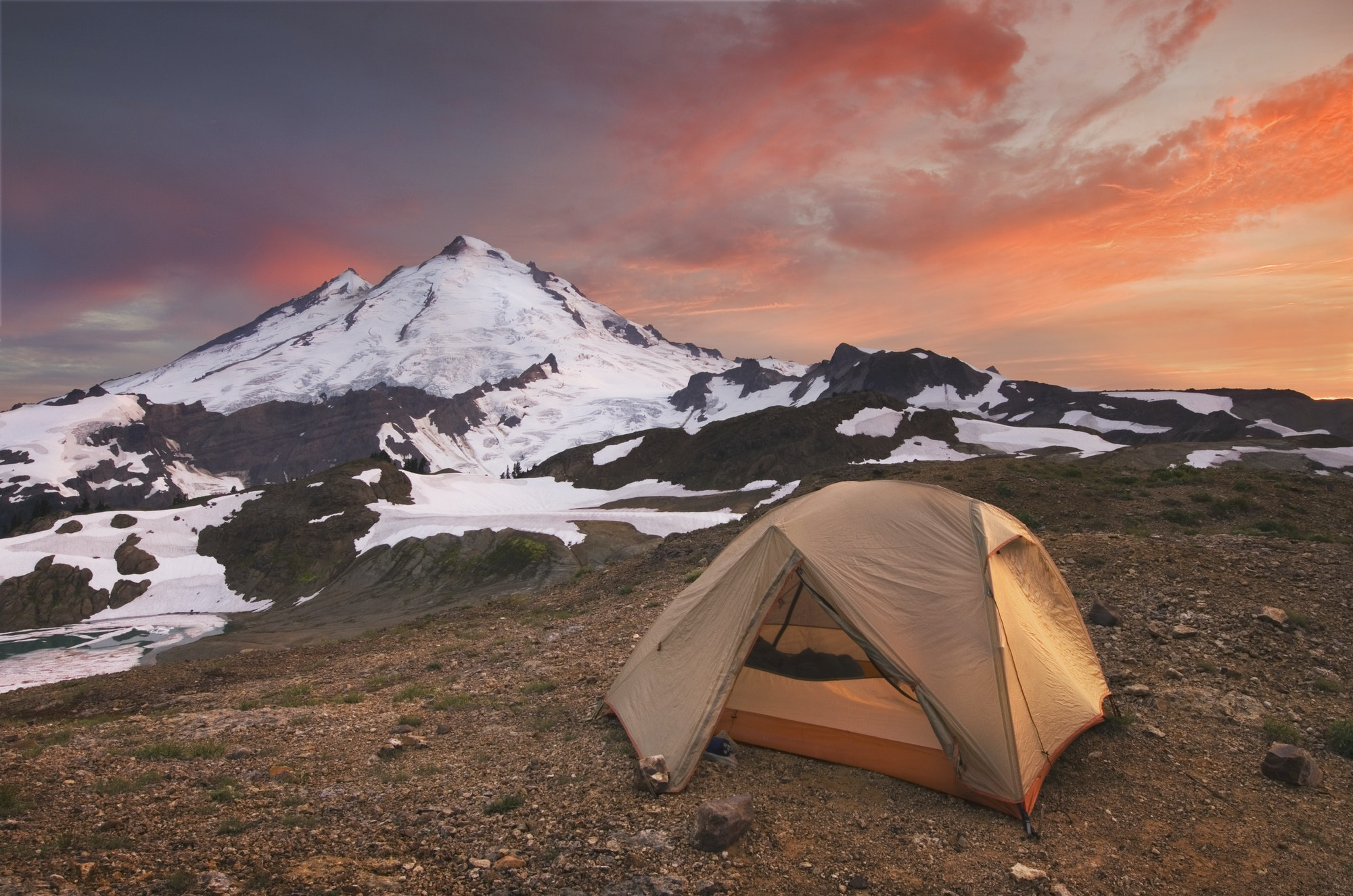 54844,Tent at campsite in snowy mountain landscape