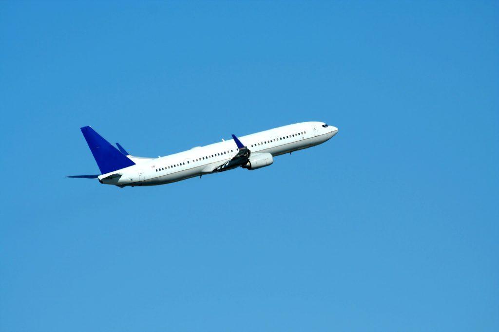 Passenger jet plane taking off