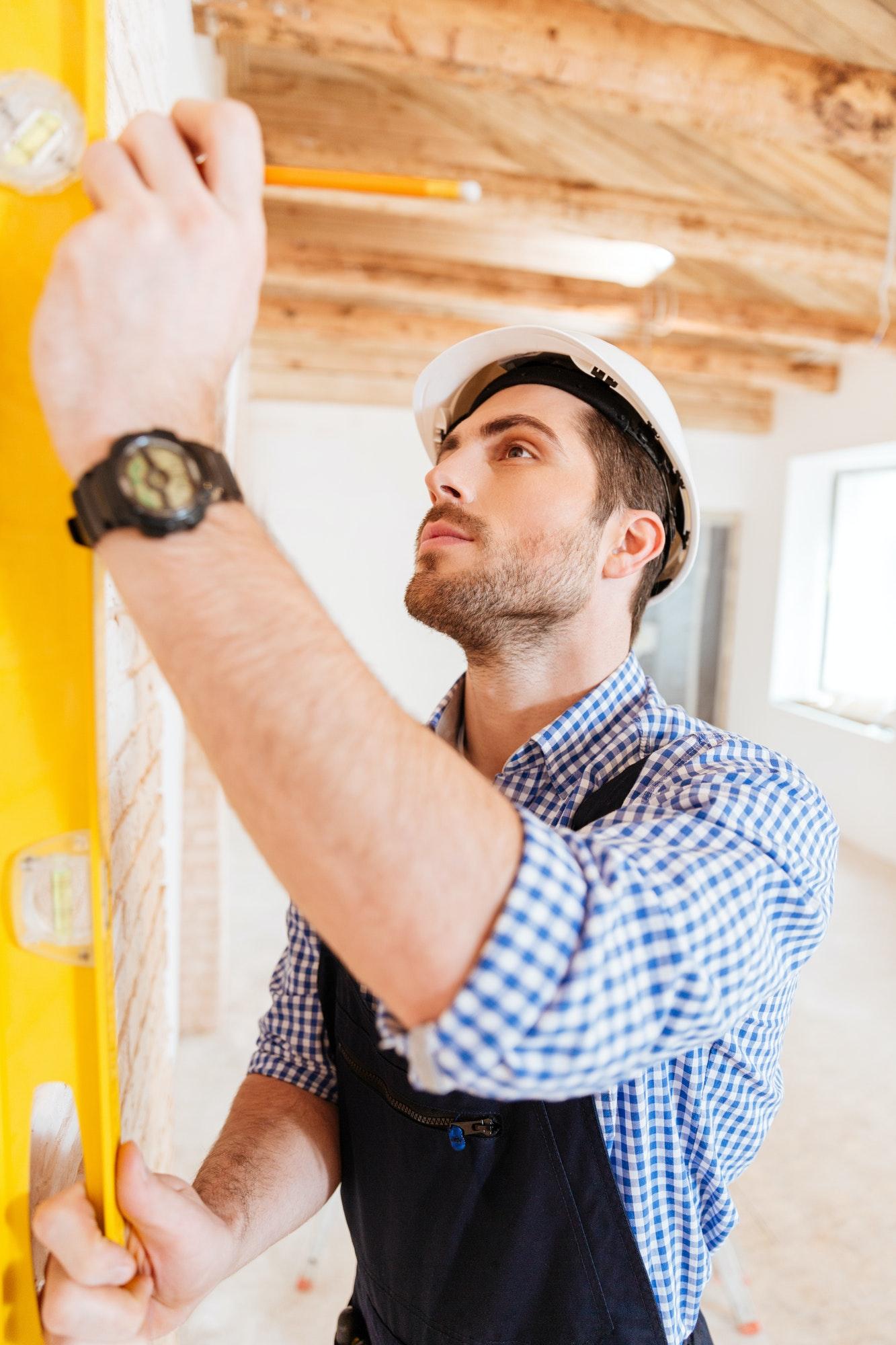 Close-up portrait of a construction builder