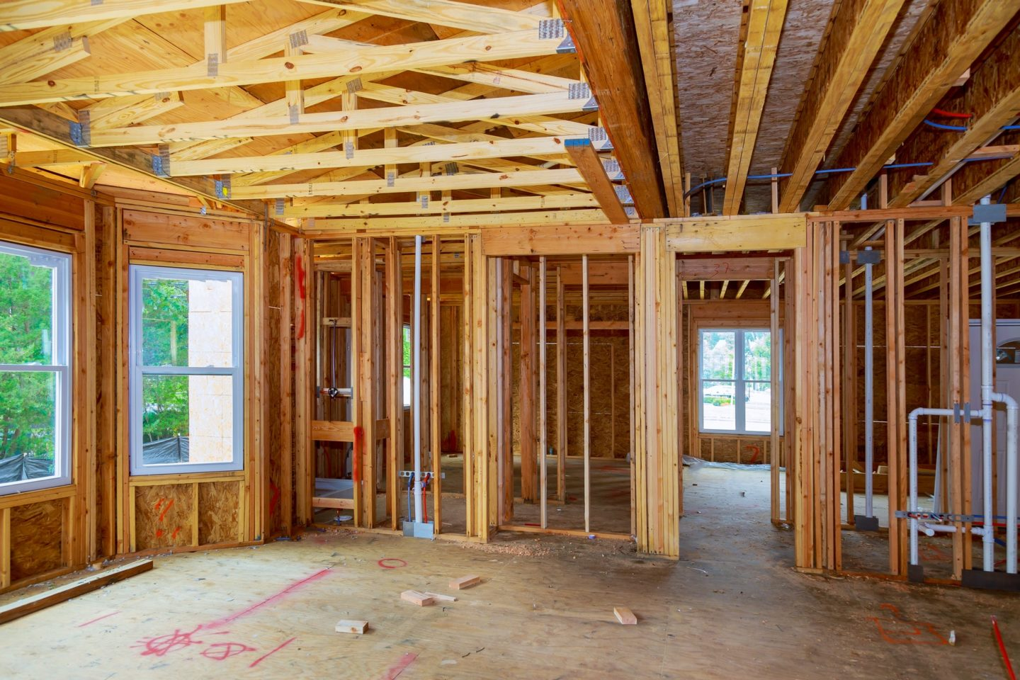 New Construction Wood Home Framing Abstract. New construction home framing