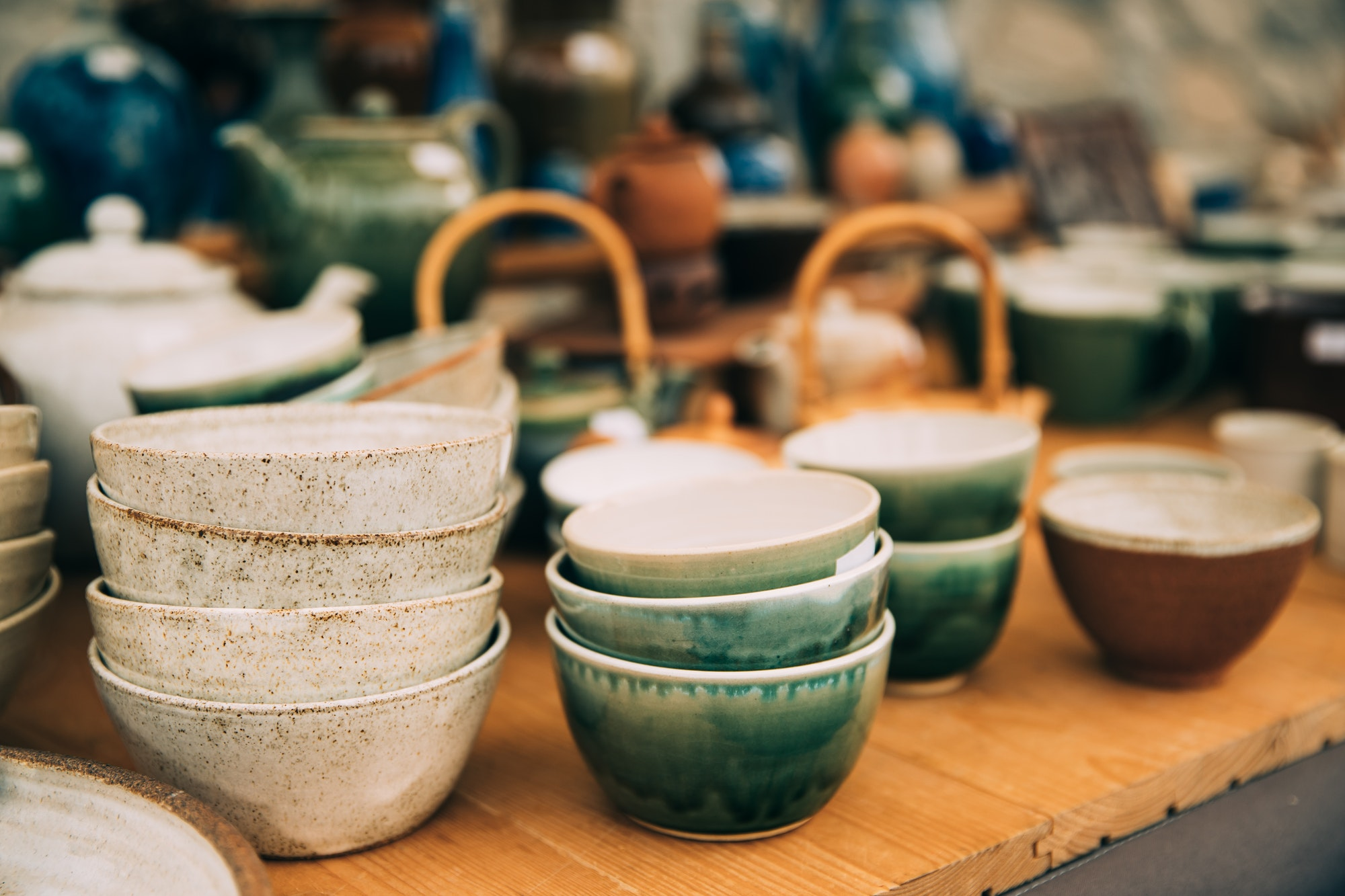 Ceramic Clay Crafts. Ceramic Dishware In Market. Bowls Of Differ