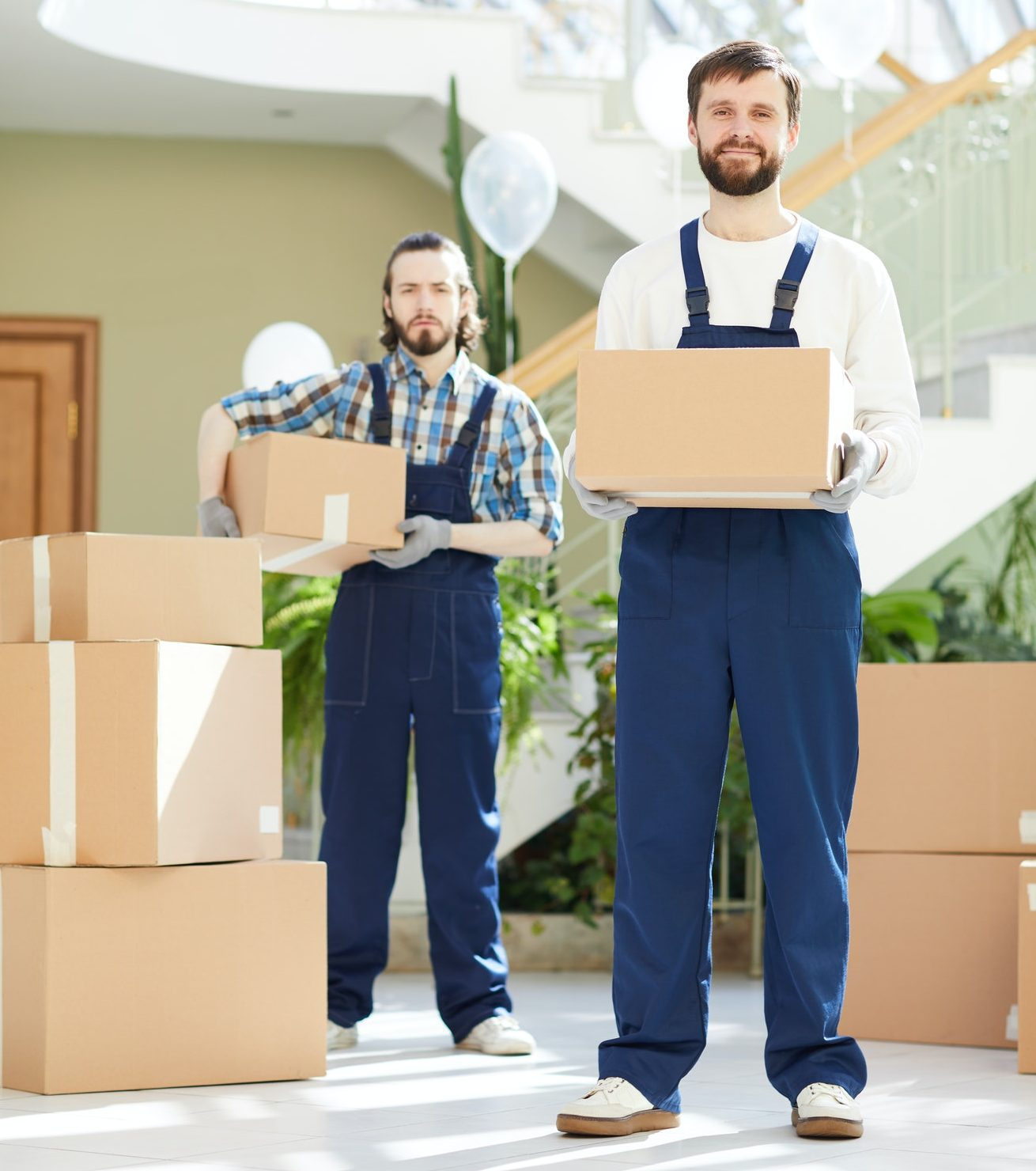 Professional workers helping with moving