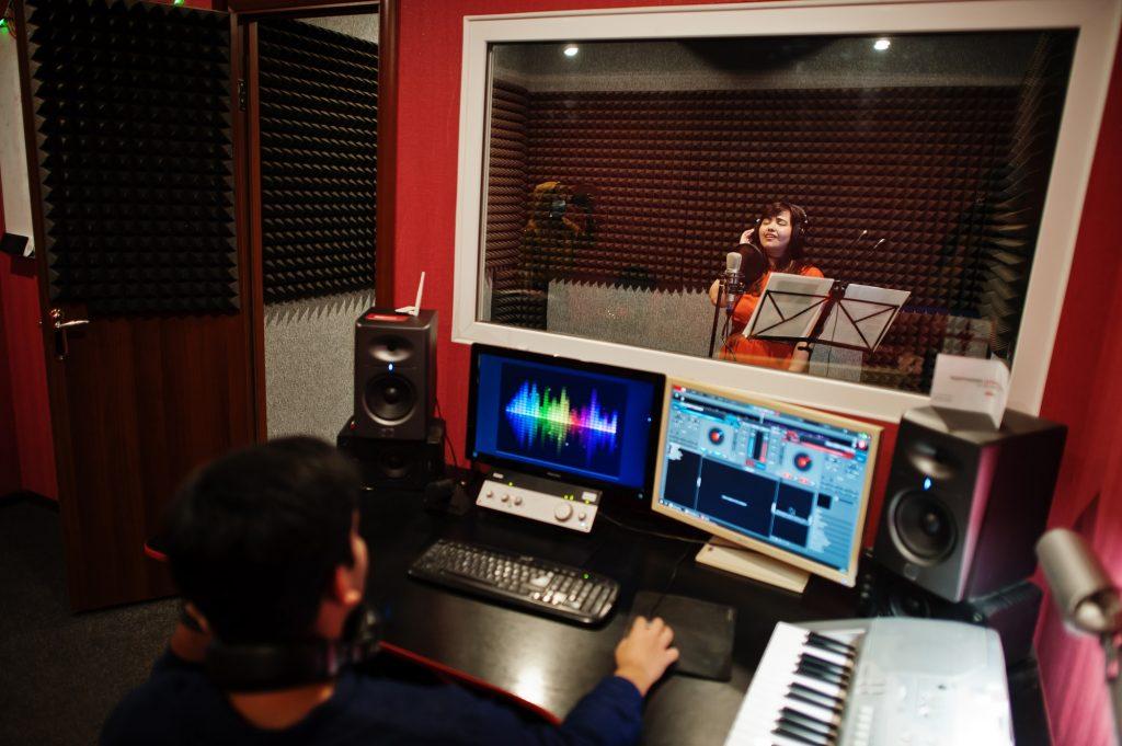 Audio record studio room