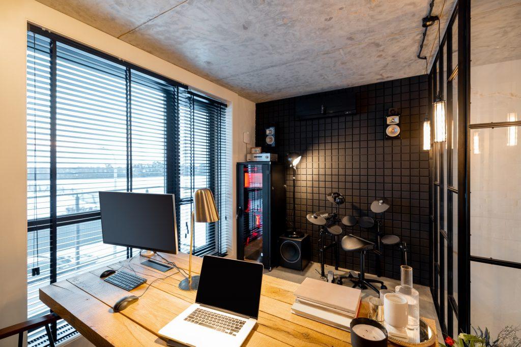 Home office and recording studio interior