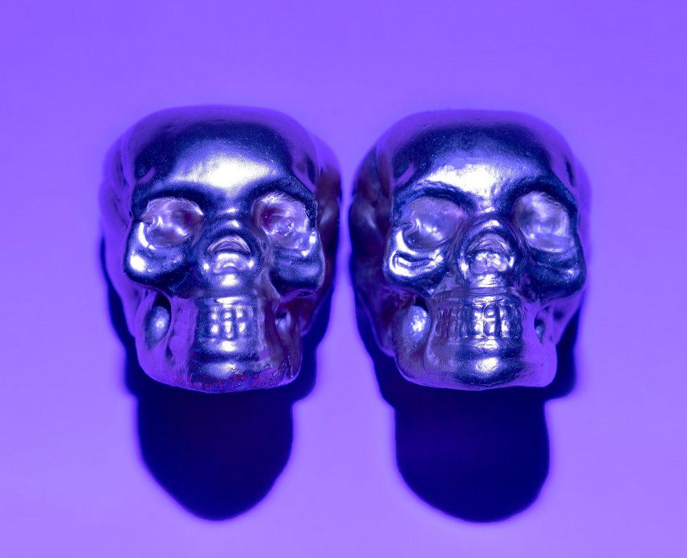 Skull Purple Paint Minimal Art