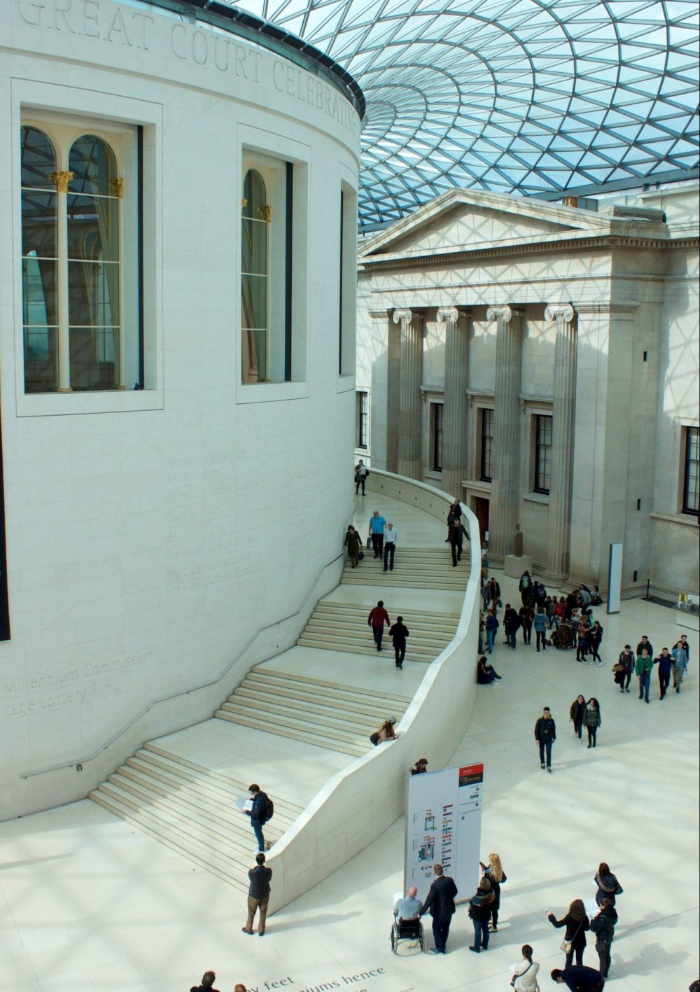 Looking down on Tourists in British museum in London