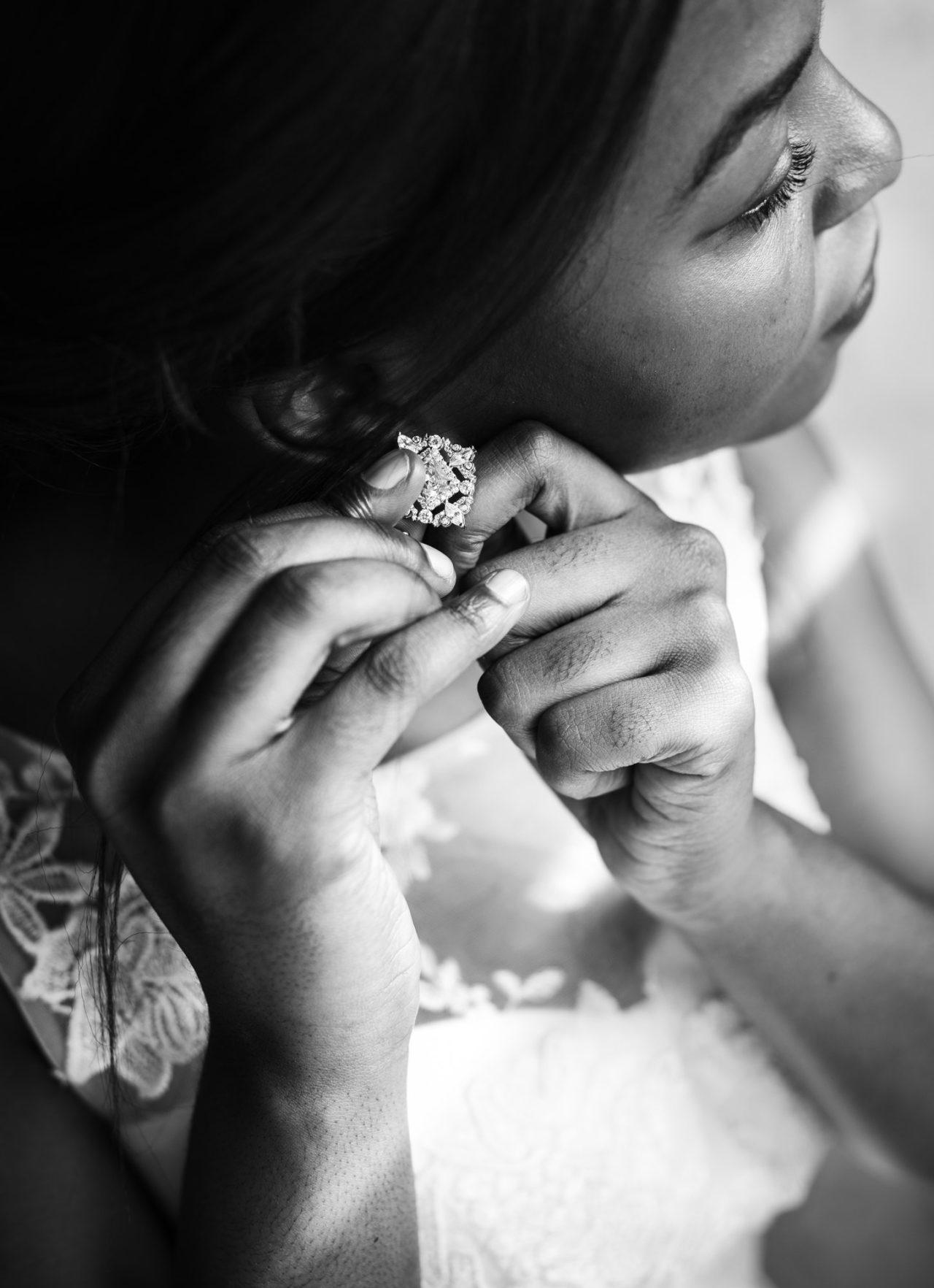 Bride Wearing Earing on Wedding Ceremony Preparation