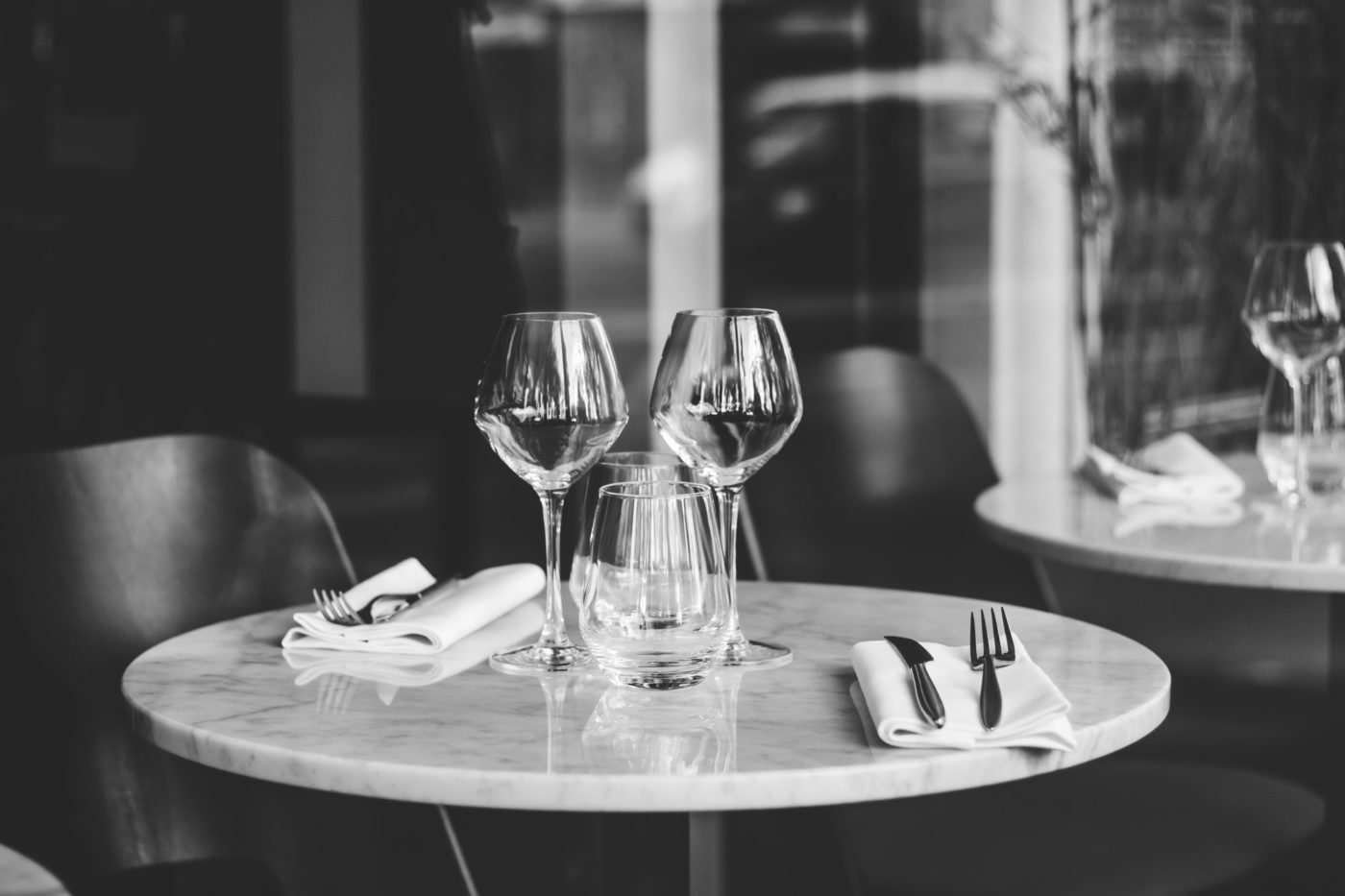 Table setting in a French restaurant for two