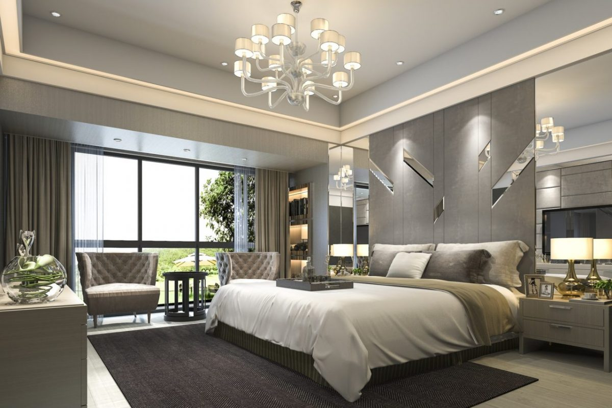 3d rendering luxury modern bedroom suite in hotel