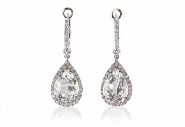 Beautiful Diamond gemstone cushion cut pear shape teardrop drop dangle diamond earrings.