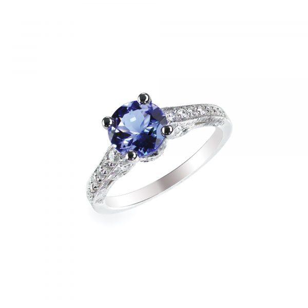 Beautiful sapphire and diamond wedding engagement ring