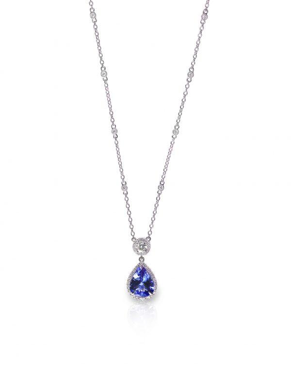 Blue Gemstone and Diamond Pendant Necklace