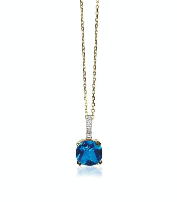 Blue sapphire gemstone birthstone necklace with diamonds