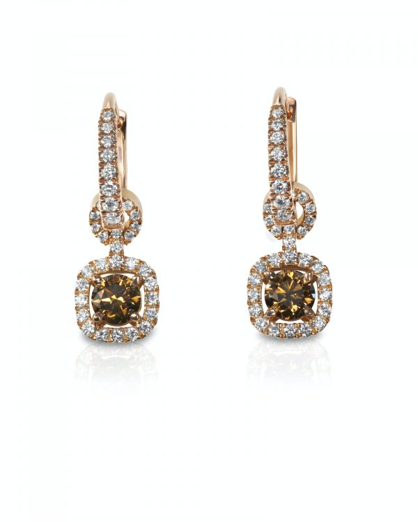 Chocolate Brown Diamond drop style dangle Earrings