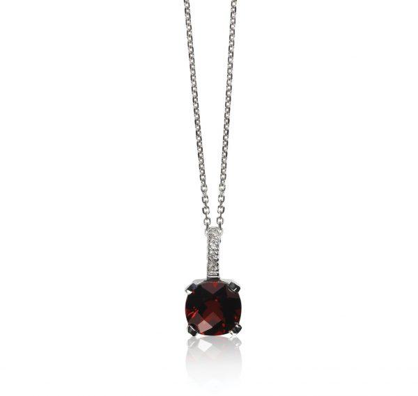 Deep Red Garnet Gemstone diamond necklace with chain