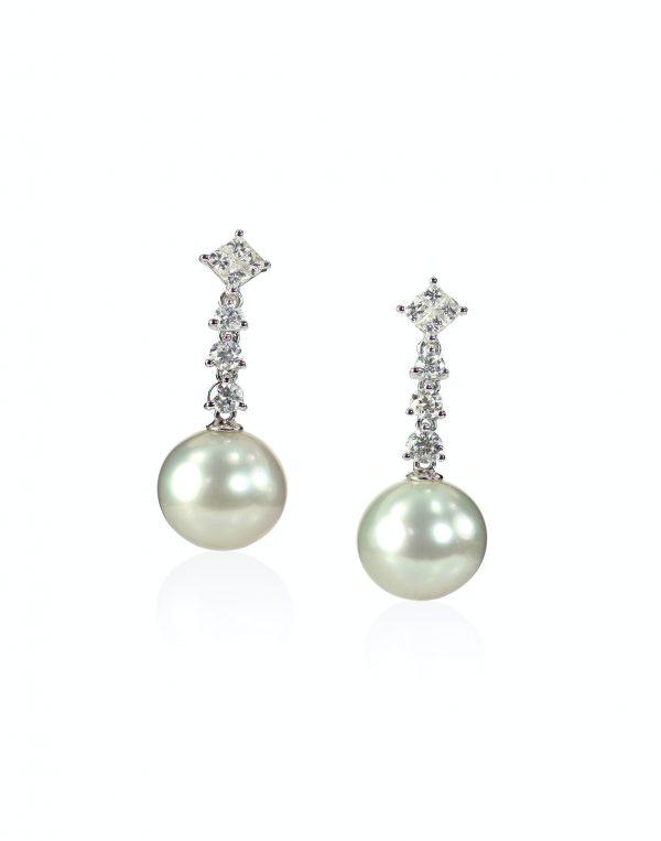 Diamond Pearl drop earrings