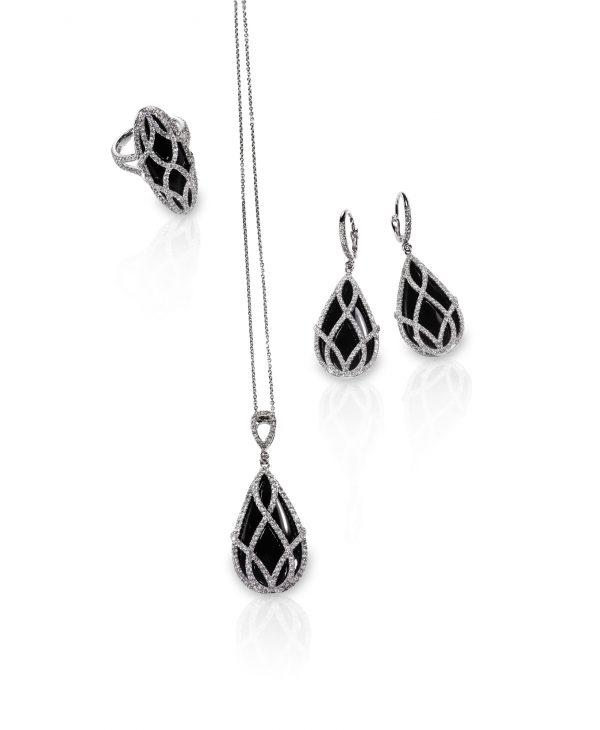 Group of diamond black onyx jewelry