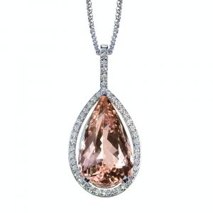 Peach Pink Morganite Diamond drop pear shape gemstone halo pendant necklace on a chain