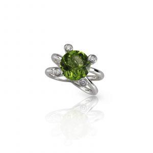peridot engagement fashion diamond ring