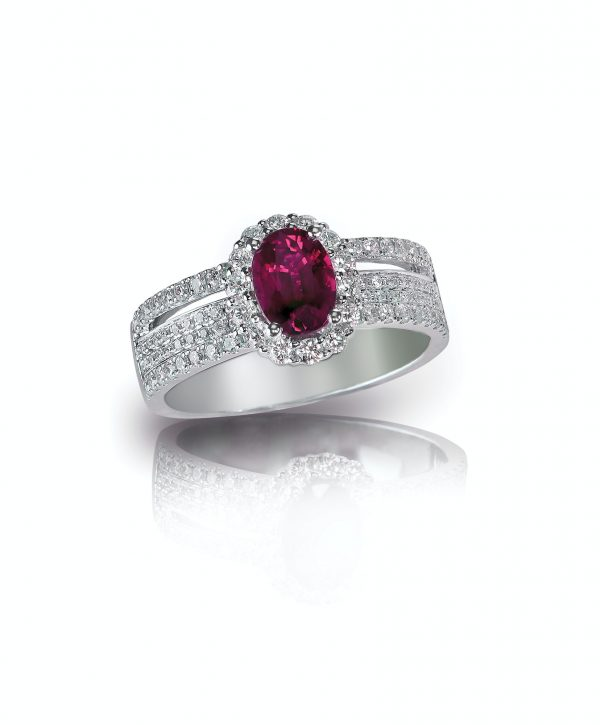 Ruby oval shape center stone red diamond ring