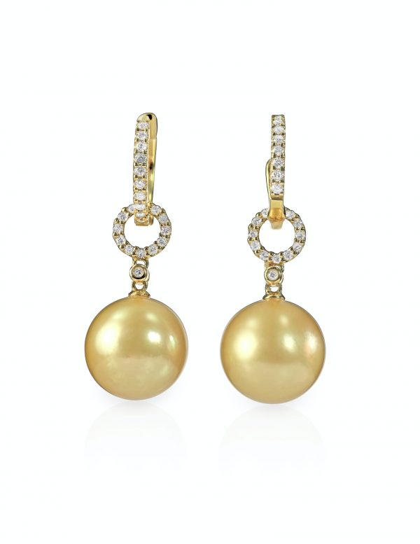 Yellow pearl and diamond earrings pair