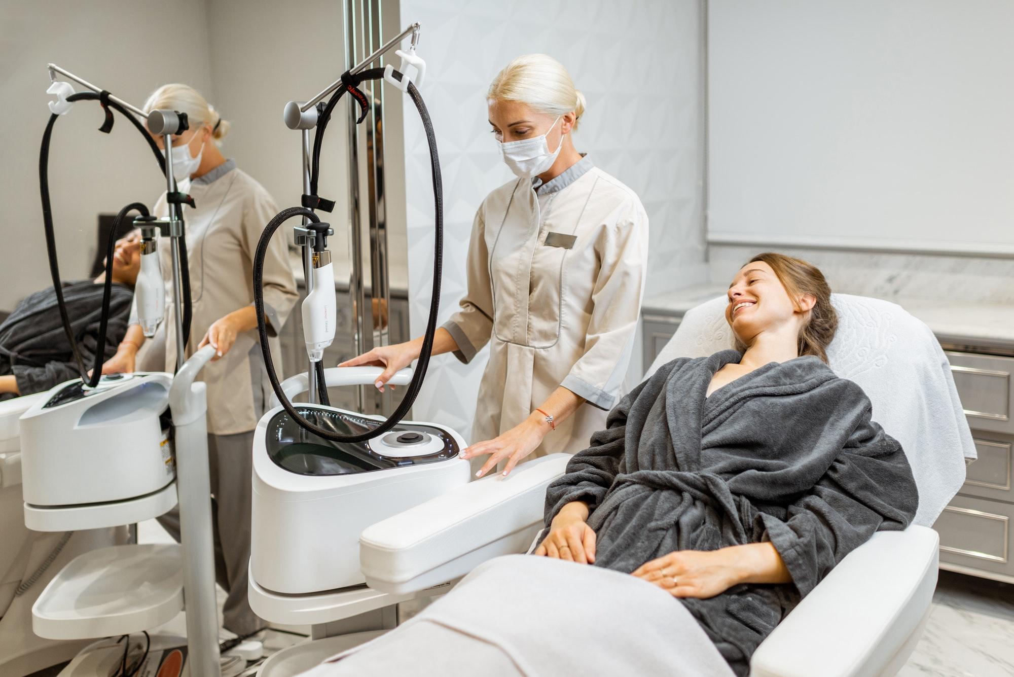 Woman during facial rejuvenation treatment