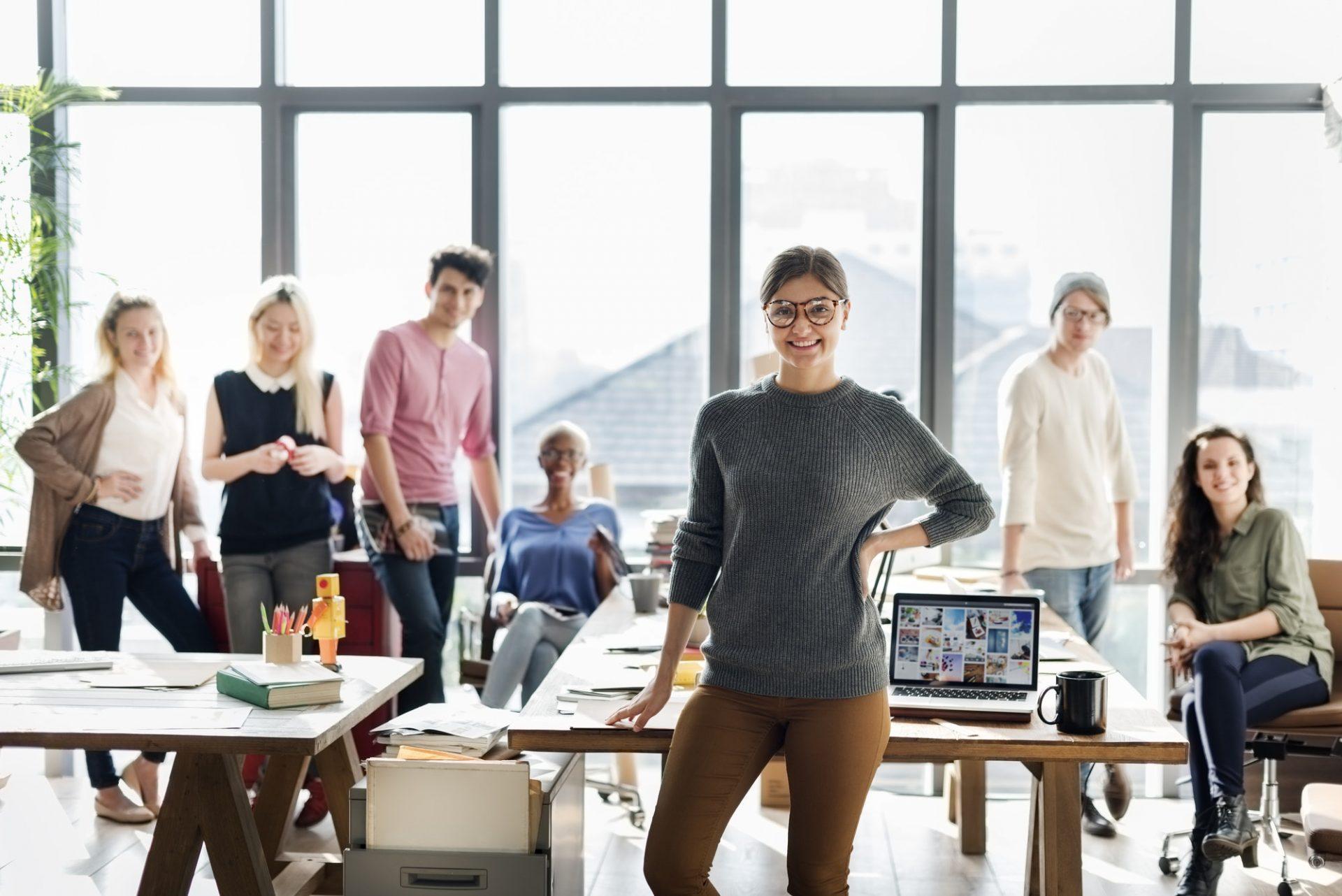 Business Team Brainstorming Workspace Concept