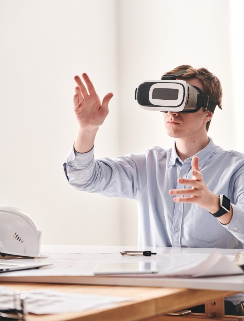Designing 3D model of building with VR device