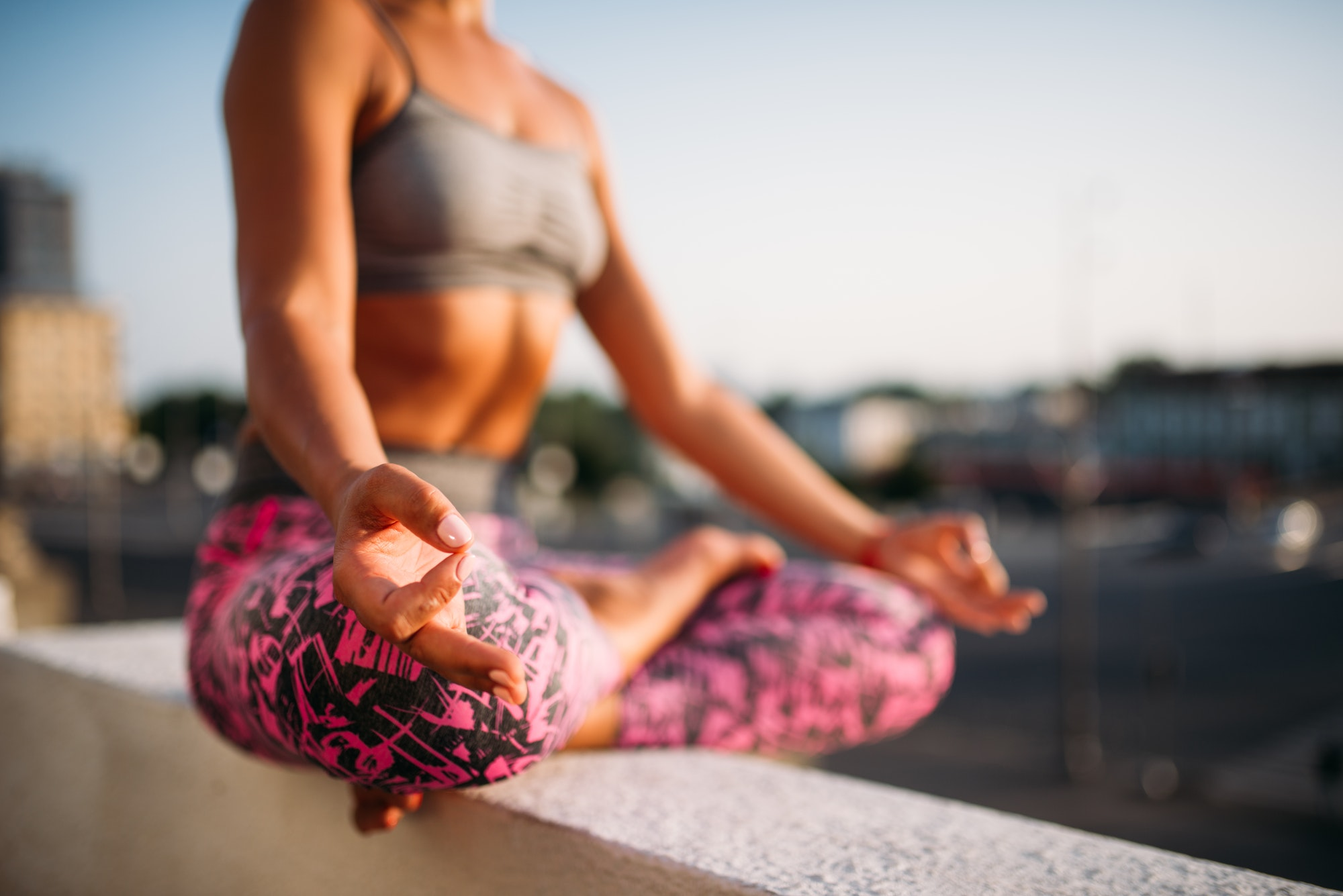 Female person, relaxation in yoga pose